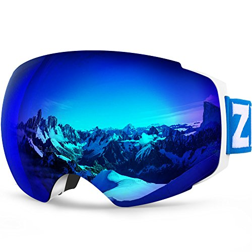 Womens Ski Snowboard Goggles - Zionor X4 Ski Snowboard Snow Goggles Magnet Dual Layers Lens Spherical Design Anti-Fog UV Protection Anti-Slip Strap for Men Women