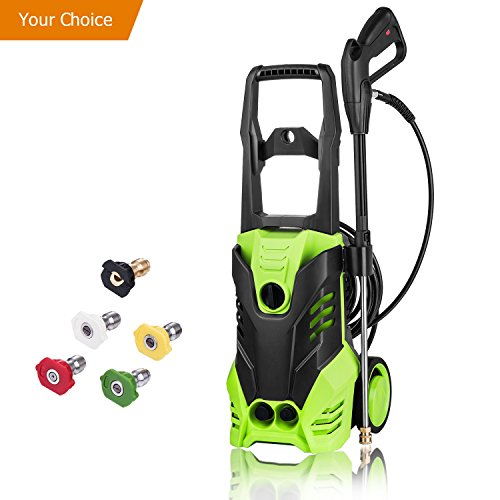 Pressure washer that comes with a colorful set of interchangeable nozzles.