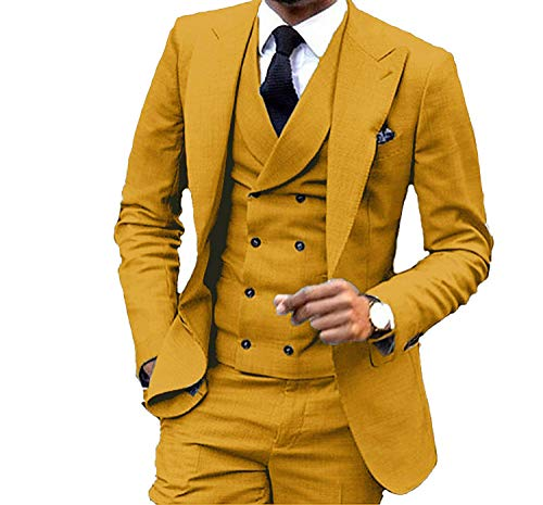 JY Men's Fashion 3 Pieces Men Suits Wedding Suits for Men Groom Tuxedos - 3 Fashion Piece