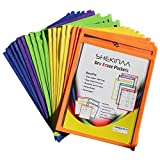 Dry Erase Pockets - 25 Pack Reusable Oversized pouches 10x13 inch - write and wipe sleeves - Erasable folder easy insert - School Supply
