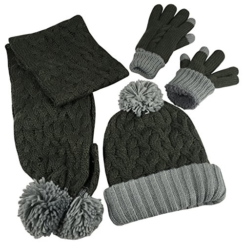 Winter Accessories Set - N'Ice Caps Women's 2 Ply Fully Lined Cable Knit Hat Scarf 3PC Winter Accessory Set (One Size, Bungee Grey/Multi)