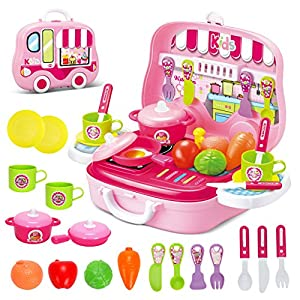 Role play kitchen playset toy kids pretend for Kitchen set for 3 year old