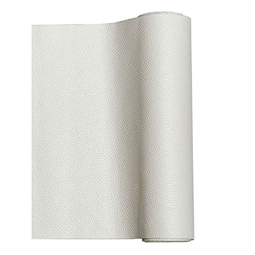 MeCan Faux Leather Fabric Sheet Solid PU Synthetic Leather Perfect for Earrings,Cricut,DIY Craft Projects,9''x53''(23x135cm) (White) ()