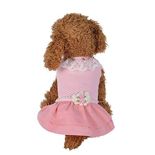 Cheap Mikey Store Pet Dog Clothes Sweet Dogs Dress Clothes Cute Winter Princess Dog Clothes (S, Pink)