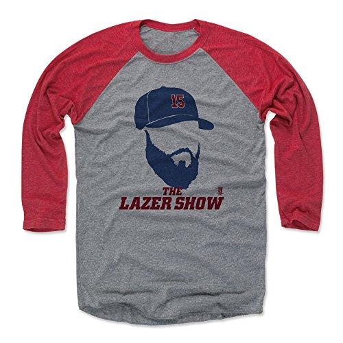 500 LEVEL Dustin Pedroia Baseball Tee Shirt XX-Large Red/Heather Gray - Boston Baseball Raglan Shirt - Dustin Pedroia Silhouette -