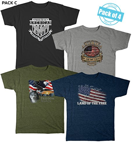 (USA American Flag Patriotic Men's Graphic Short Sleeve Cotton T-shirt Value Pack of 4 (Variety Pack) (Medium, Multicolor (C) Pack))