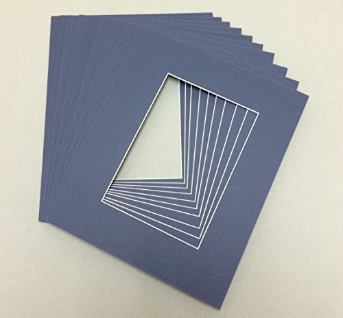 Pack of 10 8x10 Navy Blue Picture Mats with White Core Bevel Cut for 5x7 (Blue Picture Mats Matting)