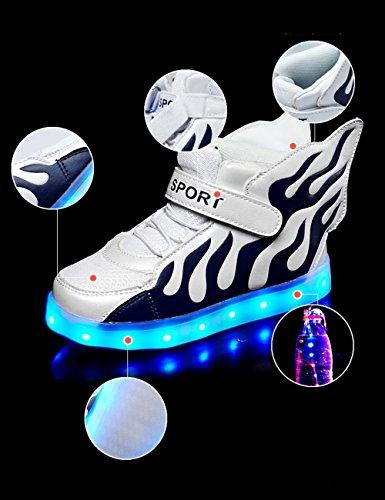 Aidonger - Zapatillas de running de Material Sintético para niño blanco y azul
