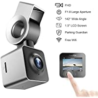Mini Dash Cam Full HD 1080P 1.5 Inch LCD Small Car Dashboard Camera DVR Video Recorder with Parking Monitor, G-Sensor, Super Night Vision and 142° Viewing Angle and WIFI Function(Silver )
