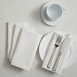"Benson Mills Textured Fabric Napkins (18"" x 18"" Napkins Set of 4, White)"