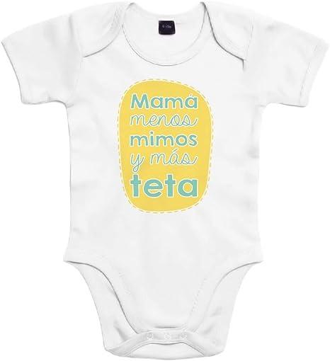 SUPERMOLON Body bebé algodón Mamá menos mimos y más teta 3 meses Blanco Manga corta: Amazon.es: Bebé