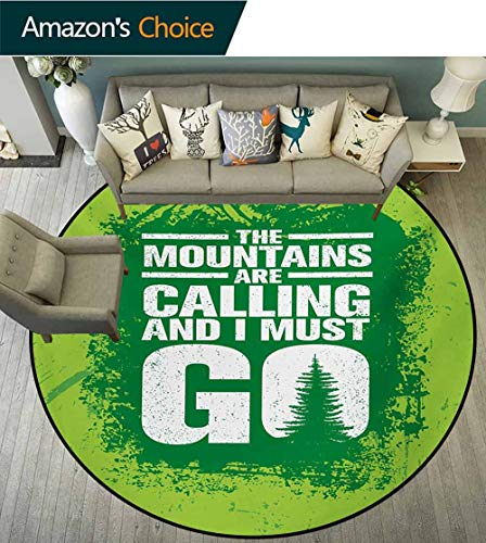 RUGSMAT Adventure Small Round Rug Carpet,Grungy Display Mountains and Retro Letters Call of The Woods Door Mat Indoors Bathroom Mats Non Slip,Diameter-55 Inch Lime Green Fern Green White