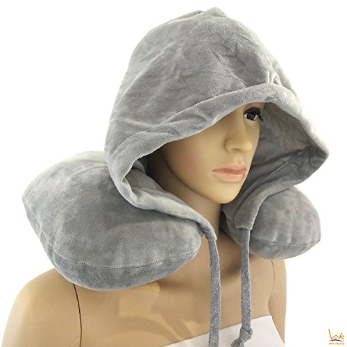 Price comparison product image WK Home Traveler Travel Neck Inflatable Pillow with Hoodie Build-In Hand Pump & Hat (Comes with carry case) Grey