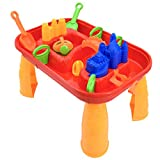 deAO Sand and Water Table for Kids Outdoor Activity Table - 12 Accessories, Wave Creator and Lids Included