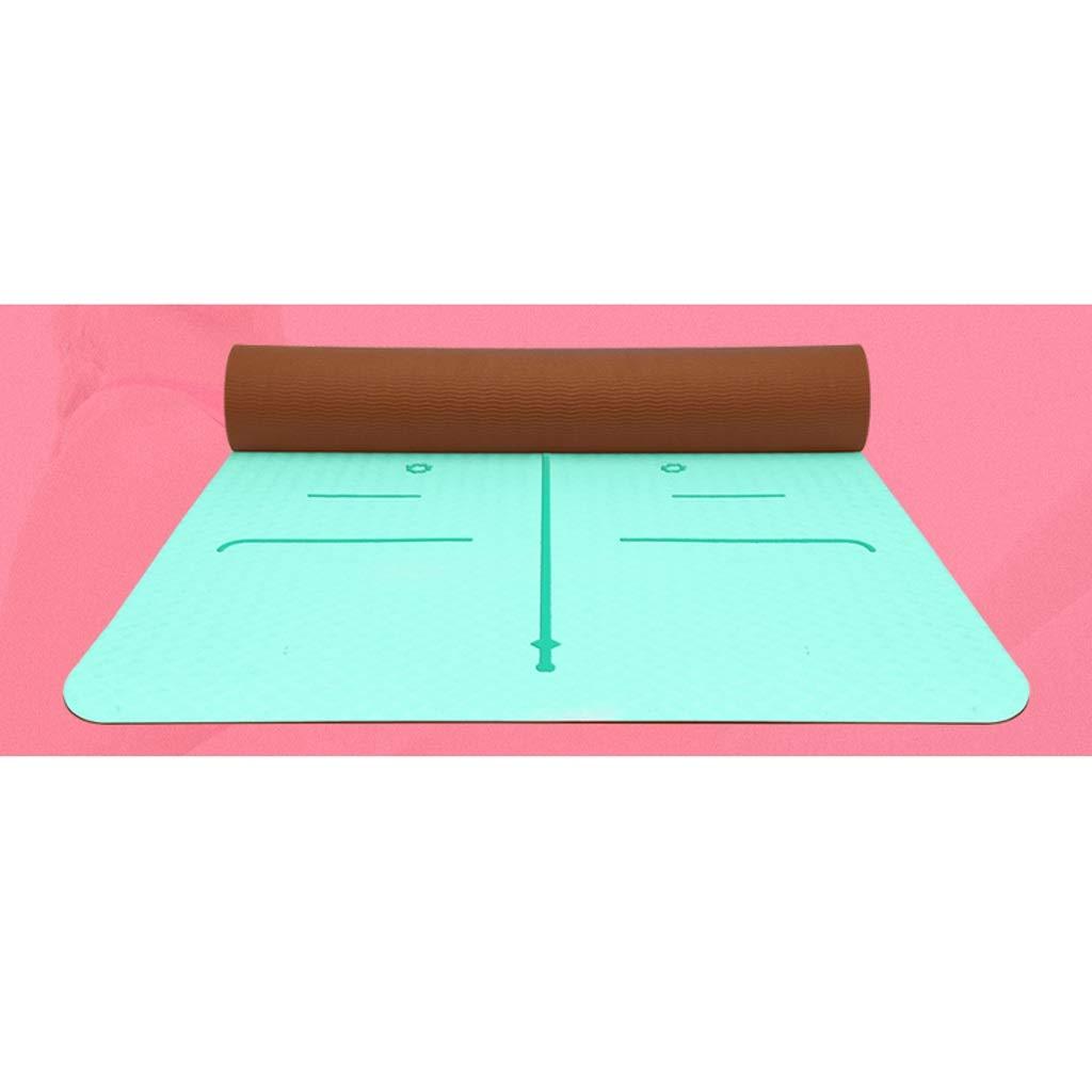 D 6mm HBZY Yoga Mat TPE Yoga Mat Female Beginner Slip Fitness Mat Three-Piece Yoga Mat Mat Home Yoga Mat Ladies Yoga mat (color   A, Size   8mm)