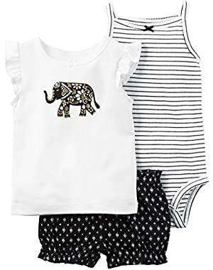 Baby Girls' 3-Piece Elephant Shorts Set