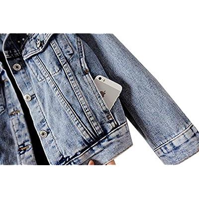 Kedera Women's Embroidered Rivet Pearl Short Denim Jacket Coat at Women's Coats Shop