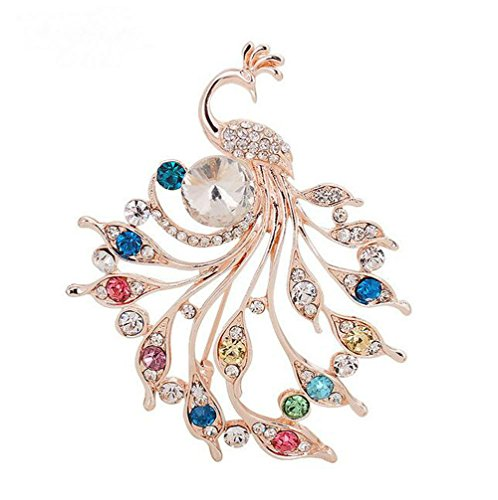 Charm Colorful Crystal Peacock Animal Brooch Pins Womens Pashmina Scarf Clip (colorful) (Jewelry Peacock)