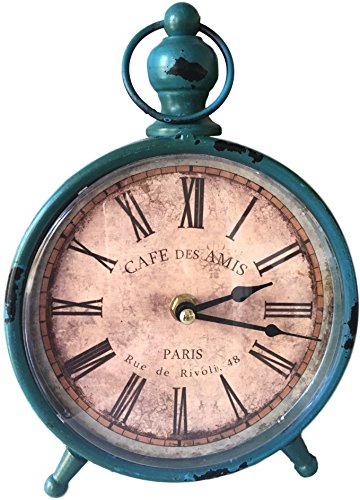 Antique Clock For Your Interior Decorating Ideas, Shabby Chic, French Country & Farmhouse, Over-Sized Vintage Distressed Blue Metal for All Home Decor, Living Room, Office, Kitchen, Bathroom & Bedside (Shabby Chic Kitchen Ideas compare prices)