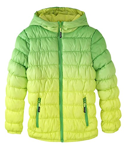 Dye Jacket Gradient Puffer Dip Jacket Waterproof Zip Krumba Front Green Girl's Hooded Girls gvxqw6x