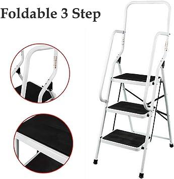 Escalera plegable de 3 peldaños, antideslizante, con escalón ancho y resistente, para la cocina en casa, 150 kg de carga: Amazon.es: Bricolaje y herramientas