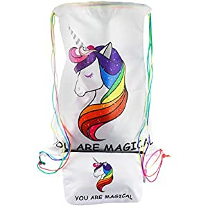 UNICORN Beach Drawstring Backpack Toiletry Travel Bag + Unicorn Makeup Cosmetic Bag for Girls | 2 COLORS | 2 PC Set Gift
