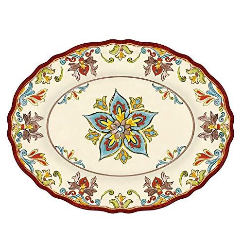 Le Cadeaux Autumn Blossom Oval Platter 16