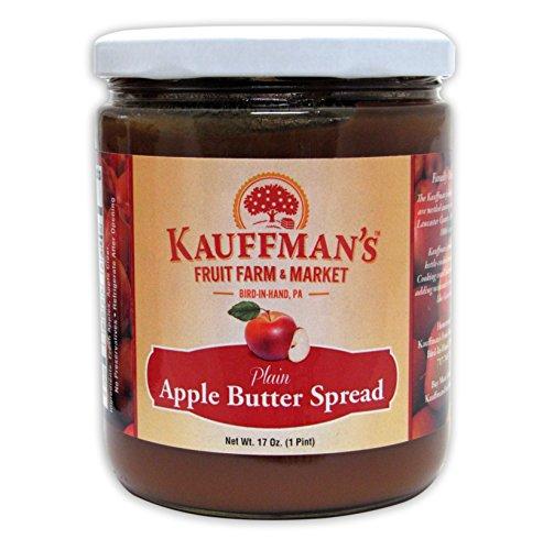 Kauffman's Homemade Plain Apple Butter, No Sugar Added, 17 Oz. Jar (Pack of 2 Jars) (Apple Butter No Sugar)