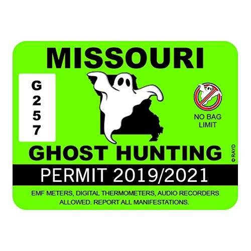 Photo Missouri Workshop - RDW Missouri Ghost Hunting Permit - Color Sticker - Decal - Die Cut - Size: 4.00
