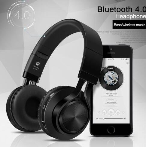 Sound Intone BT-06 Wirealess Bluetooth 4.0 Headphones Foldable Stereo with Mic Black