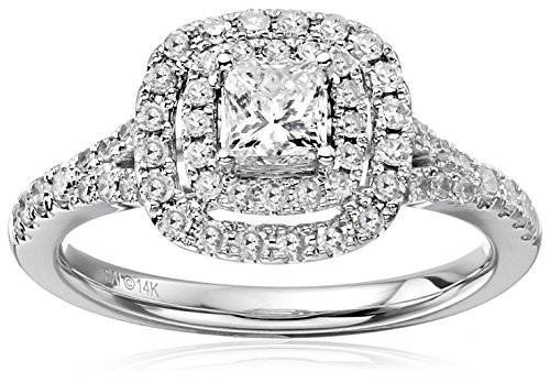 Double Frame Ring (14k White Gold Diamond Double Halo Frame Engagement Ring (1cttw, H-I Color, I1-I2 Clarity), Size)