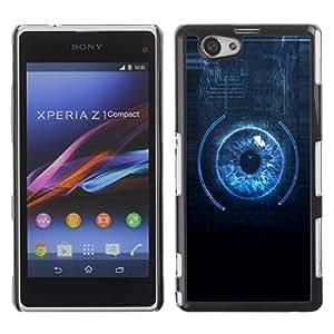Be Good Phone Accessory // Dura Cáscara cubierta Protectora Caso Carcasa Funda de Protección para Sony Xperia Z1 Compact D5503 // Sci Fi Blue Eye Close Up