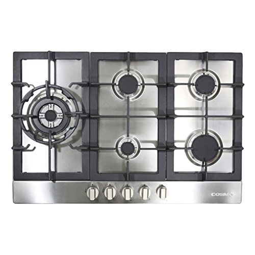 Cosmo 950SLTX-E 34-in Gas Cooktop, 5 Sealed Brass Burners including 16000 BTU Jet Nozzle Burner, Cast Iron Grates, Metal Knobs in Stainless -
