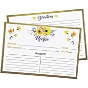 Juvale 60-Pack Floral 4x6 Double Sided Blank Recipe Index Cards for Weddings and Bridal Showers