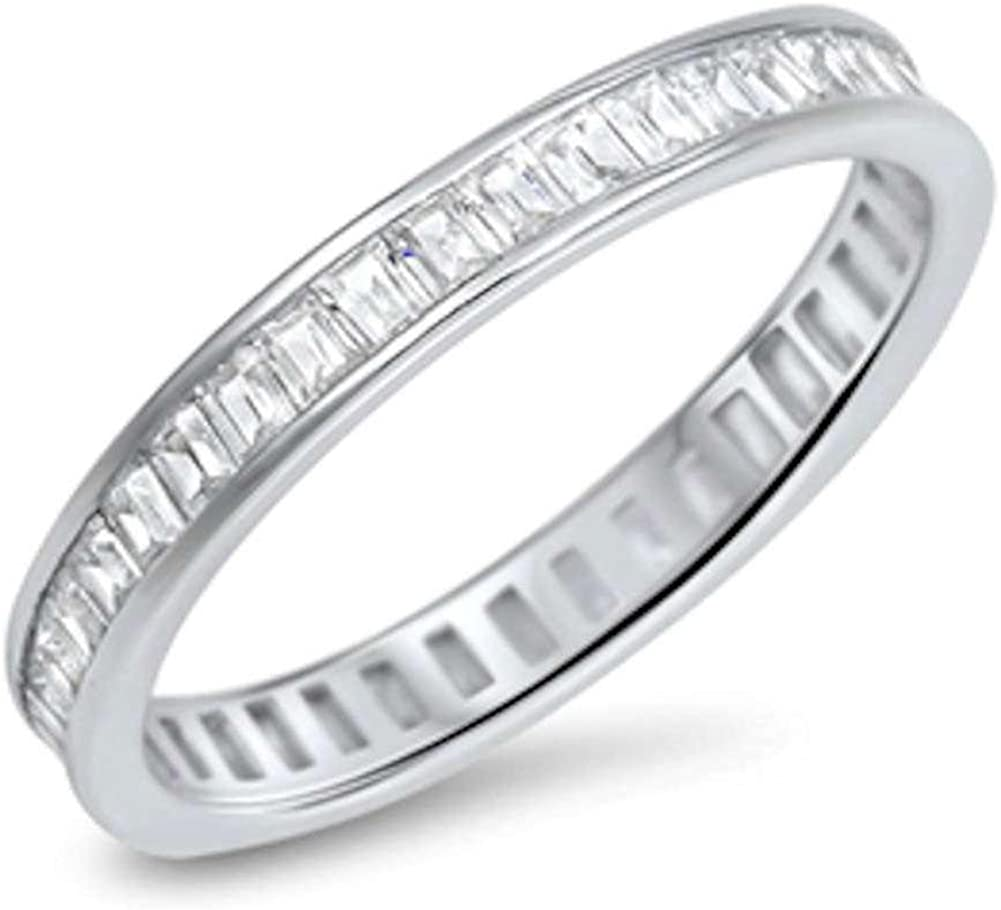 Blue Apple Co. 3mm Full Eternity Baguette Cubic Zirconia Band 925 Sterling Silver Choose Color