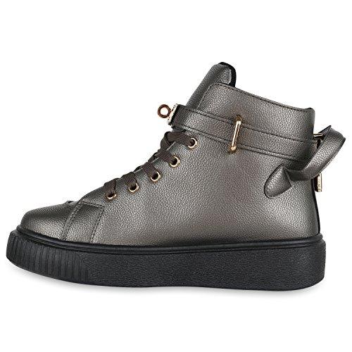 Stiefelparadies Damen Sneaker High Schuhe Leder-Optik Sneakers Zipper Ketten Schnürschuhe Flats Schnallen Flandell Grau Metallic Metallic