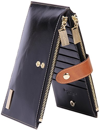 Borgasets RFID Blocking Women's Genuine Leather Zipper Wallet Card Case Purse Black