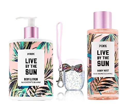 Victoria's Secret PINK LIVE BY THE SUN LIMITED EDITION SET OF 3 - BODY LOTION 500 ml / 16.9 fl oz, BODY MIST 250/8.4 fl oz and GIFT anti-bacterial Hand Gel 1 oz WITH POCKETBAC HOLDER. ()