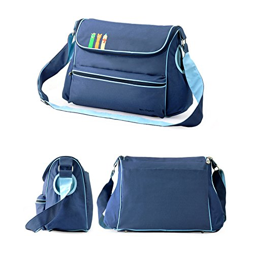 Moda Multifuncional Bolsa de Momia Sets Cambia Pañal de Bebé Saco de Pañales Bolso de Mensajero azul