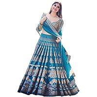 Varudi Fashion Women's Printed Blue Lehenga Choli With Blouse Piece (RTC1_Blue_FreeSize)