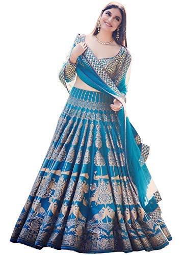 bfa7e20ecd Generic Women's Davara Creation Silk Printed Lehenga Choli for Bridal Wear  (DCS-147, Blue, Free Size): Amazon.in: Clothing & Accessories