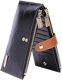 RFID Blocking Womens Genuine Leather Wallet Credit Card Holder Zipper Purse