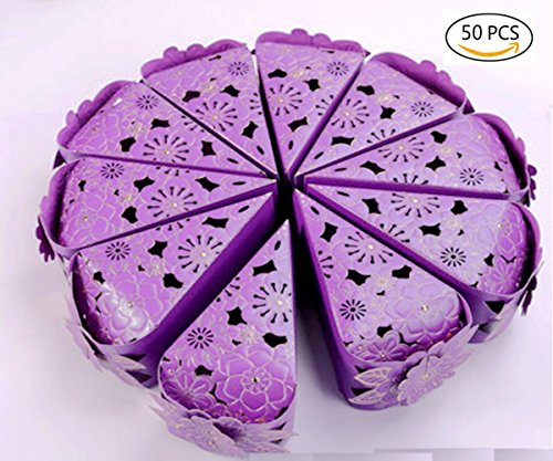 Dproptel 50pcs Elegant Pearl Paper Gift Candy Boxes Cake Style Wedding Boxes Party Favour Candy Gift Boxes For Christmas New Year Parties Baby Shower (Purple) (Cake Wedding Gift Box)