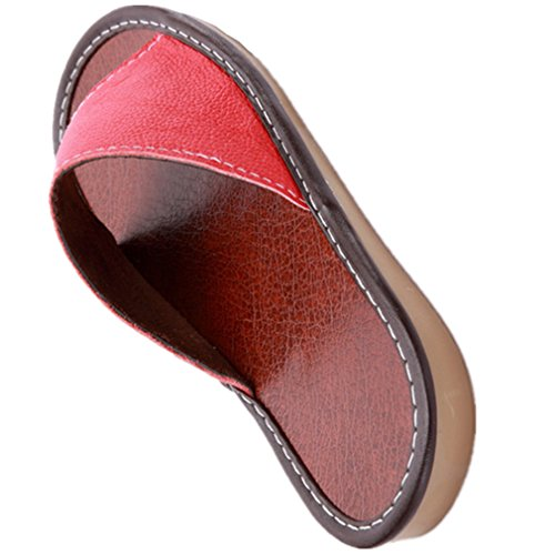 Red By Samsay Home Furnishing Slipper Flat Unisex Indoor Leather Sandals Genuine qAFwvF
