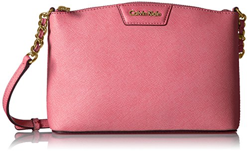 Saffiano Crossbody Calvin Top Curved Key Klein Item Pink Zip SxYqr0Y6w