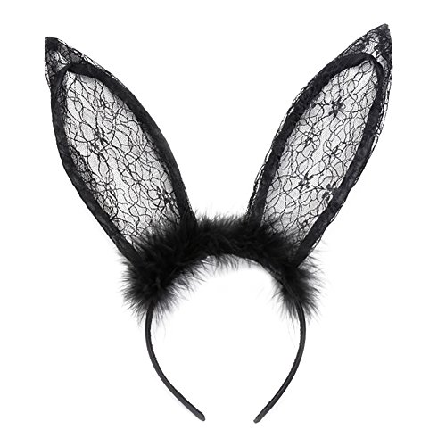 Lace Rabbit Mask (Ztl Sexy Lace Headband Rabbit Ears Hair Band Party Cosplay Costume Accessories,)