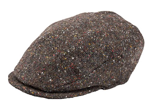 Hanna Hats Men Donegal Tweed Vintage Flat Driving Cap Made in Ireland 100% Wool