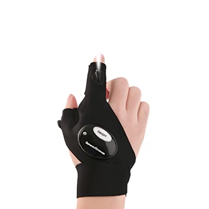 90d42f75d2b2c9 Sportsvoutdoors LED Flashlight Magic Strap Fingerless Gloves with 2 LED  light for Repairing in Darkness Places