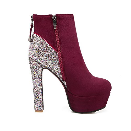 Allhqfashion Women's Round Closed Toe High-Heels Soft Material Low-Top Assorted Color Boots Claret OzDDYGWaI