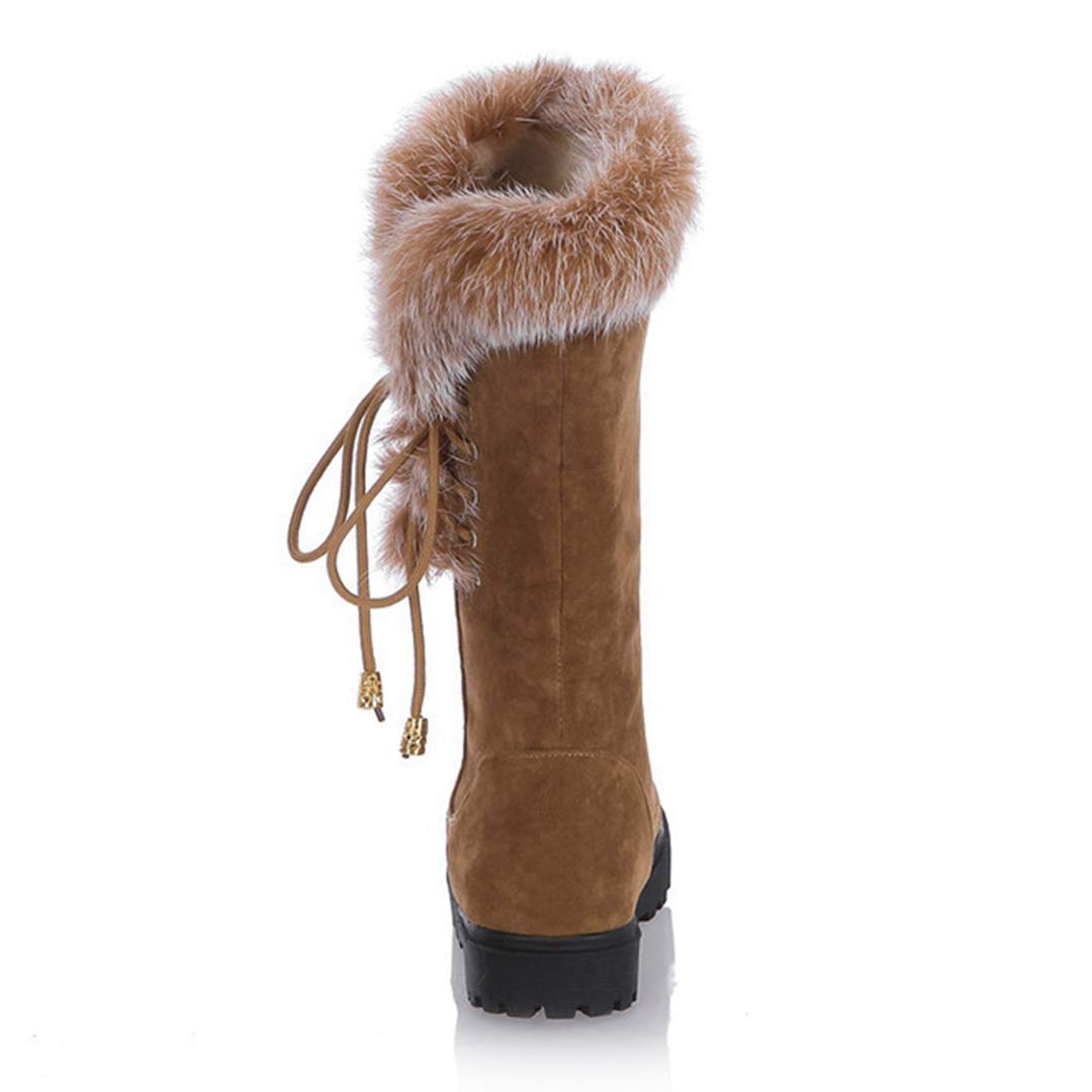POLLYEDEN Damen Damen Damen Winter Mitte Kalb Stiefel Runde Kappe Wildleder Niedriger Absatz Kunstpelz Warme Knöchel Schnee Stiefel 6dae30